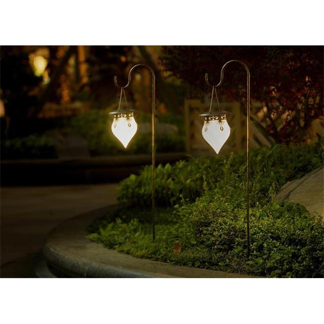 Winsome House WXE0092 Set of 2 Hanging Cone Shaped Solar Lights with Shepherds Hook