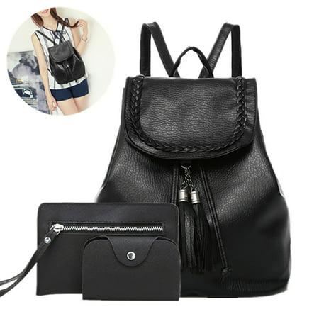 3Pcs Women Leather Backpack Travel Handbag Rucksack Shoulder Bag (The Best Travel Backpack 2019)