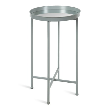 Kate and Laurel Celia Round Metal Foldable Accent Table with Mirror Tray Top, - Silver End Piece