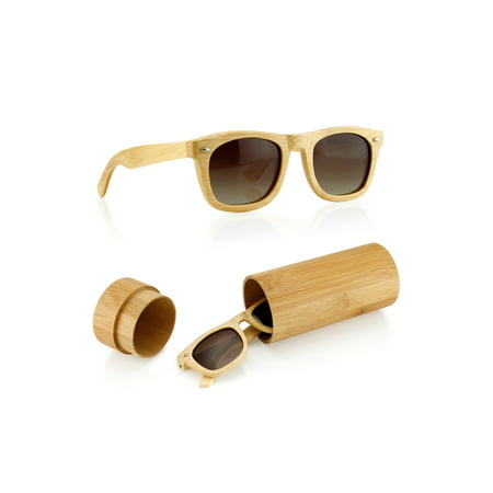 Wood Wooden Mens Womens Bamboo Vintage Sunglasses Eyewear with Bamboo Case (Bamboo Sunglasses)