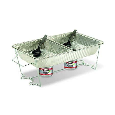 70182 Full Size Buffet Kit, Includes (1) reusable, folding wire rack, (1) full size aluminum water pan, (2) aluminum food pans, (2) 7-ounce cans of Sterno Cooking Fuel,.., By Sterno