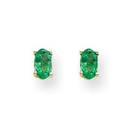 14K Yellow Gold Emerald Post Earrings - image 2 de 2