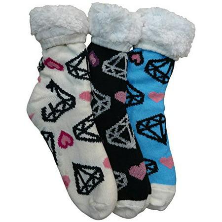 Prestige Edge 3 Pairs of Sherpa Fleece Lined Slipper Socks, Gripper Bottoms, Best Warm Winter Gift (Diamonds and (Best Women's Winter Running Tights)