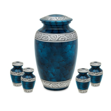 - Urnsdirect2u Middleton Blue Adult Cremation Urn with four tokens, 232 cubic inches