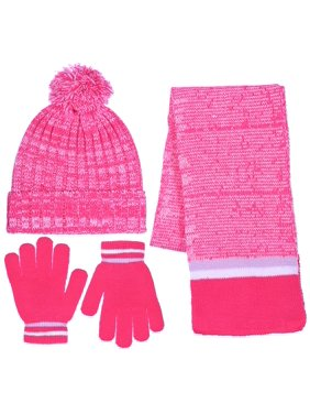 Girls Knit Beanie Scarf & Gloves Set Full Wrap Cuff & Pom 3 Color Combinations
