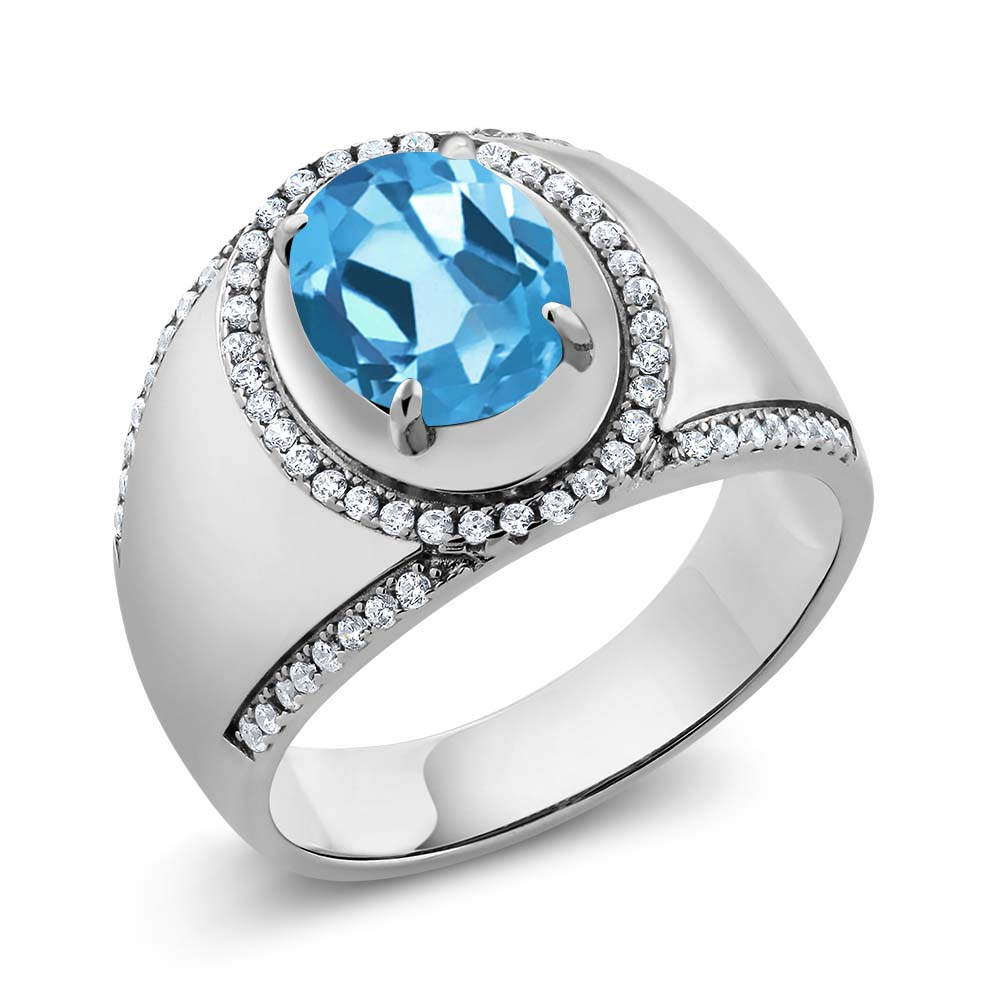 3.49 Ct Oval Swiss Blue Topaz 925 Sterling Silver Men's Ring by