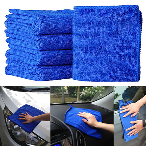 POLYHYMNIA 5Pcs Blue Soft Absorbent Wash Cloth Car Auto Care Microfiber Cleaning Towels