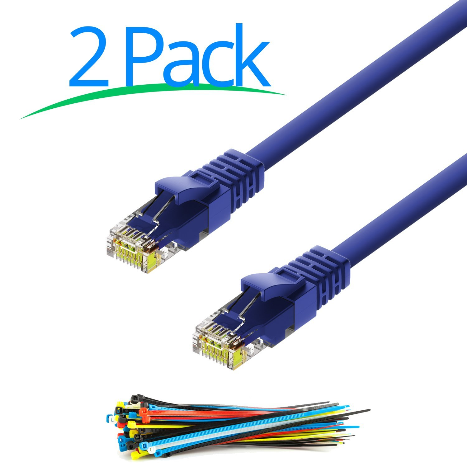 Cat6 Ethernet Cable  1 Foot Cord - 2 Pack - Internet RJ45 Gigabit Cat6e Lan Cable With Snagless Connectors For Fast Network & Computer Networking + Cable Ties - Blue