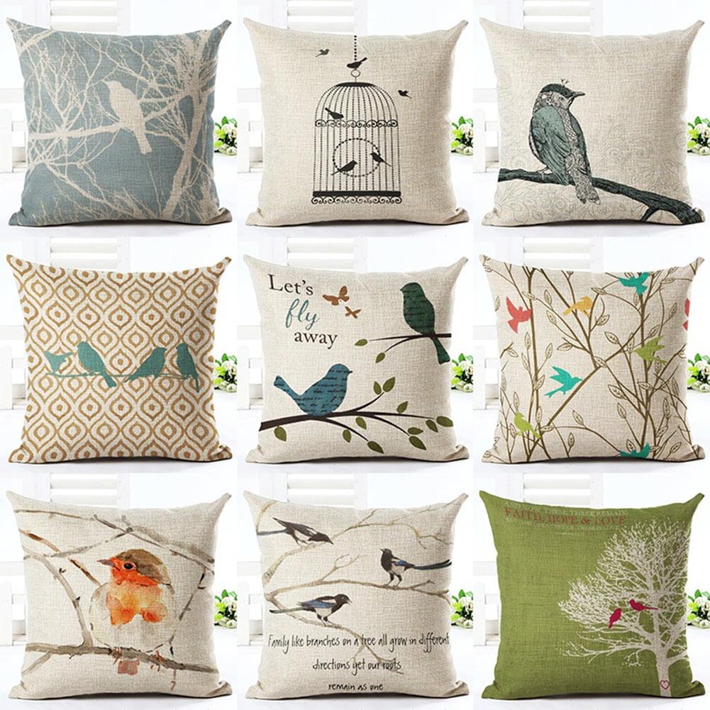Girl12Queen Cute Bird Pattern Throw Pillow Case Office Sofa Square Waist Cushion Cover Decor