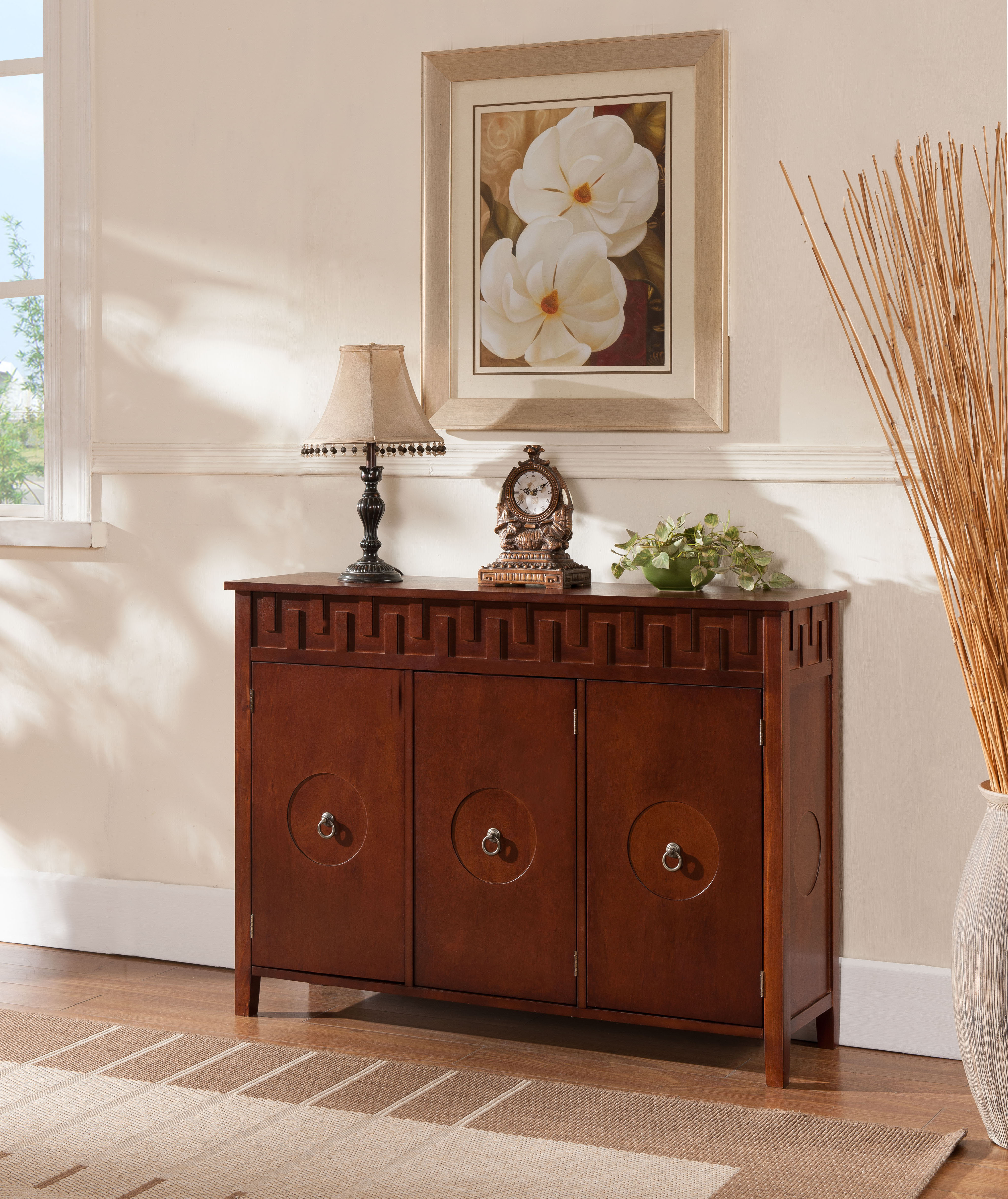 Grayson Walnut Wood Contemporary Sideboard Buffet Display Console Table  With Storage Cabinet Doors