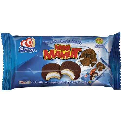 Gamesa Mini Mamut Marshmallow Cookies with Chocolate Coating, 1 oz, 4 count