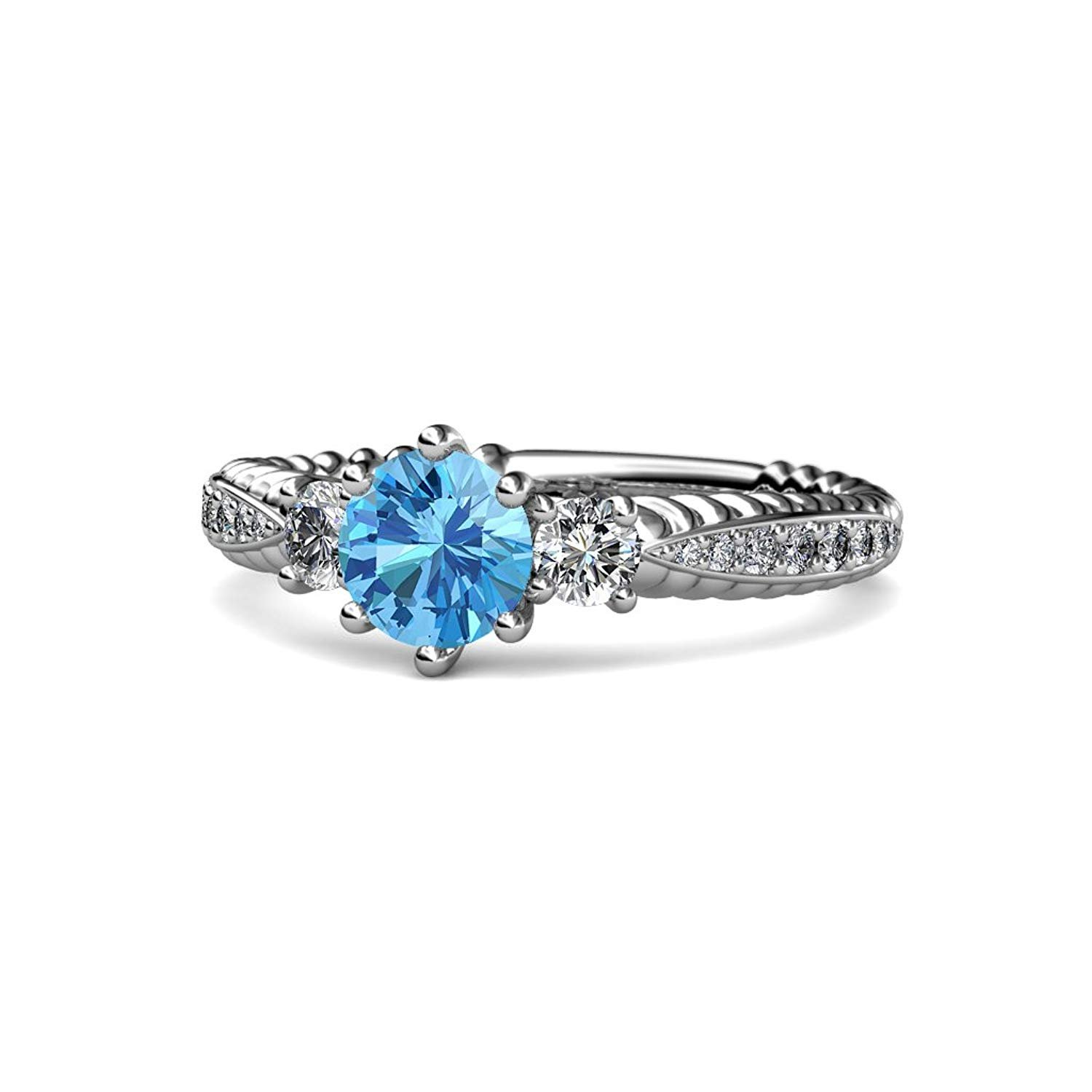 Blue Topaz and Diamond Three Stone Ring with Diamond on Side Bar 1.55 cttw 14K White Gold.size 5.5 by TriJewels