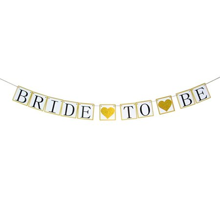 bachelorettesy bride to be banner - bridal shower banner (gold glitter hearts) garland decorations](Balloon Bride)