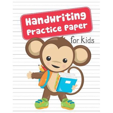 Handwriting Practice Paper for Kids : Blank Dotted Lined Sheets Writing Notebook - Preschool Pre-K Kindergarten K-3 Students - Cute Monkey Holding Schoolbooks and Backpack (Improve Writing Skills For Middle School Students)