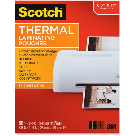 """""""Scotch Laminating Pouches, 5 mil, 9"""""""" x 11.5"""""""", Gloss Clear, 50/Pack -MMMTP585450"""""""