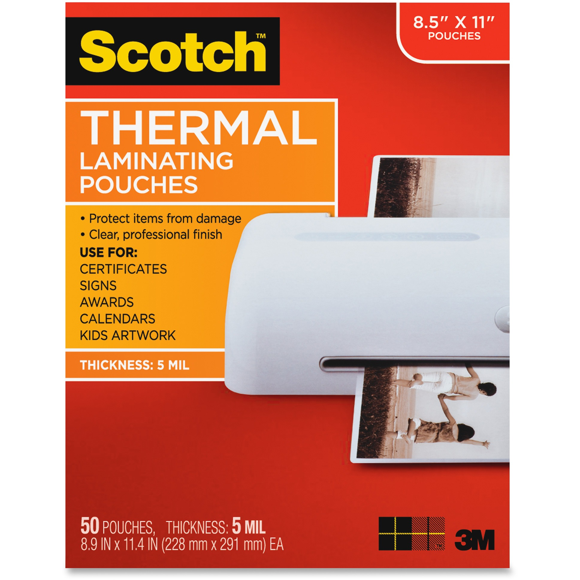 Scotch, MMMTP585450, Thermal Laminating Pouches, 50 / Pack, Clear