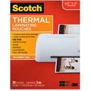 "Scotch Laminating Pouches, 5 mil, 9"" x 11.5"", Gloss Clear, 50/Pack -MMMTP585450"
