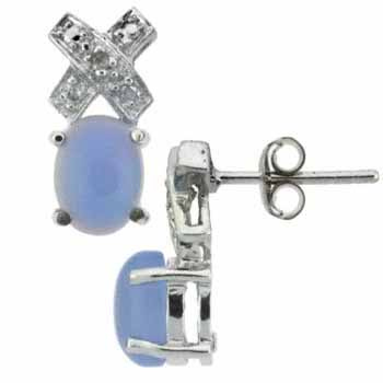 Sterling Silver Diamond Accent & Chalcedony X and O Earrings by SilverSpeck