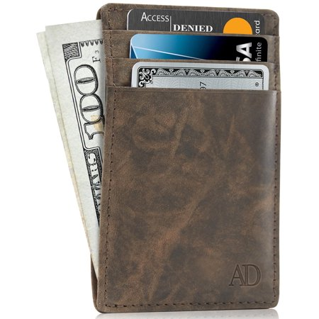 1ea0f92b7608 Slim Minimalist Wallets For Men & Women - Genuine Leather Card Holder Front  Pocket Wallet With Gift Box RFID Blocking