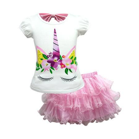 Kid Girl Unicorn T-Shirt + Lace Mesh Tutu Dress Skirt Party Outfit 2Pcs