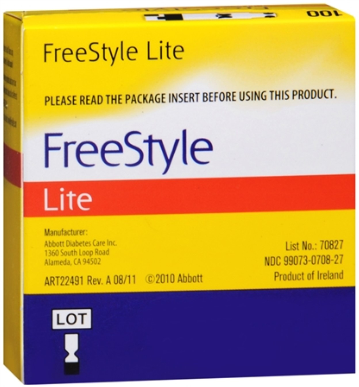 FreeStyle Lite Blood Glucose Test Strips 100 Each (Pack of 2)