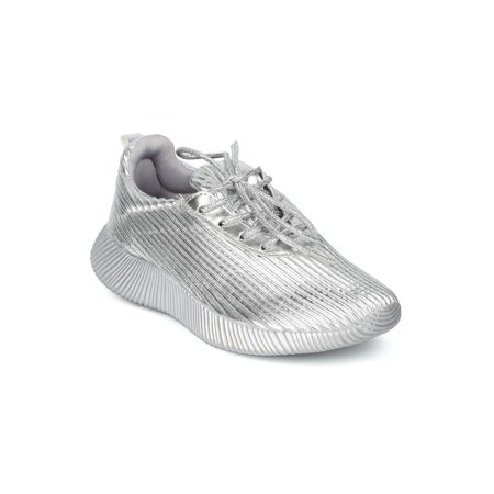 New Women Wild Diva Darla-02 Lace Up Textured Low Top Jogger Sneaker
