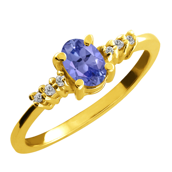 0.49 Ct Oval Blue Tanzanite and White Diamond 18k Yellow Gold Ring by