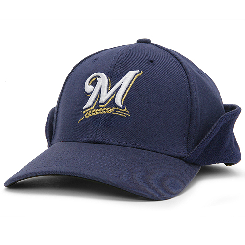 New Era Milwaukee Brewers Navy Blue 39THIRTY Down Flap Authentic On-Field Stretch Fit Hat