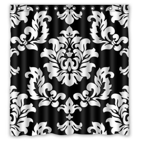 HelloDecor Black And White Damask French Floral Swirls Shower Curtain Polyester Fabric Bathroom Decorative Curtain Size 66x72 Inches](Black And White Damask)