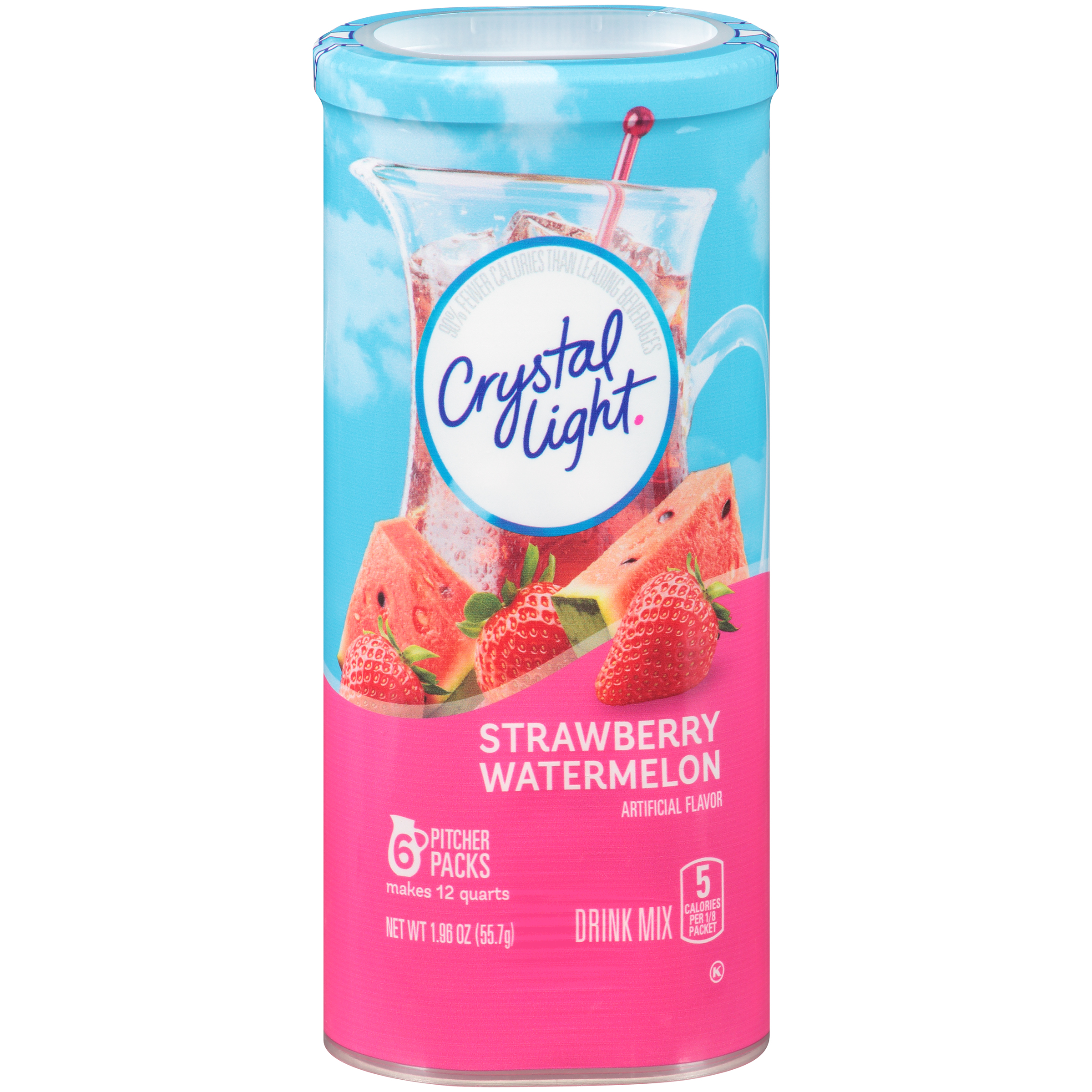 Crystal Light Strawberry Watermelon Drink Mix Pitcher Packets, 6 count Box