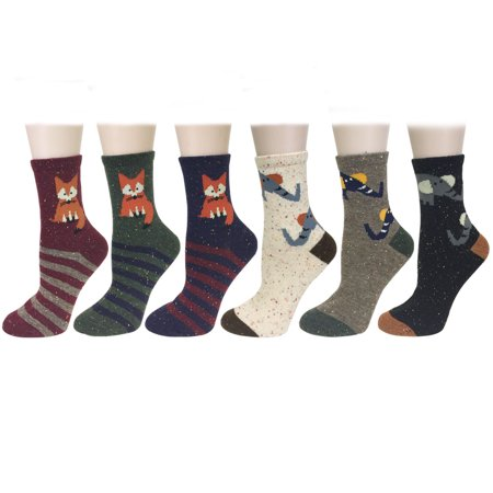 Wrapables® Thick Wool Animal Design Crew Socks (Set of 6), Fox and Elephant
