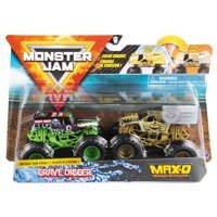 Monster Jam, Official Grave Digger vs. Max D Color-Changing Die-Cast Monster Trucks, 1:64 Scale