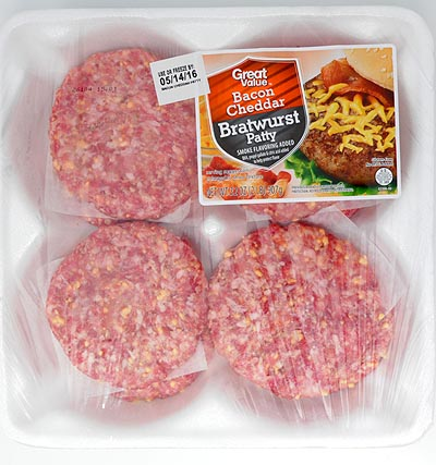 Great Value Bacon Cheddar Bratwurst Patties, 8 ct, 32 oz