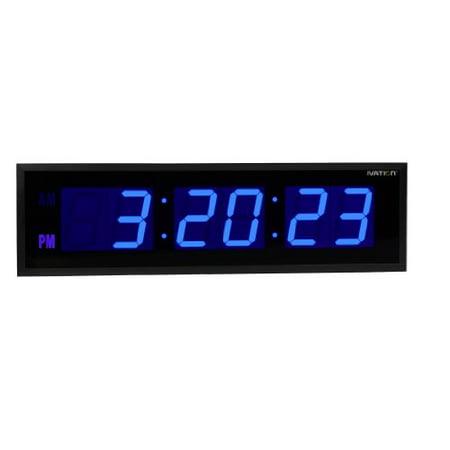 Ivation Huge Large Big Oversized Digital LED Clock - Shelf or Wall Mount (24 Inch - Blue) ()