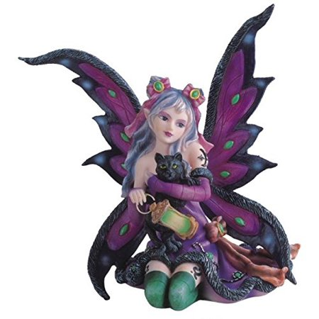 StealStreet SS-G-91408 Purple Fairy Kneeling with Black Cat Collectible Figurine - Black Cat Decorations