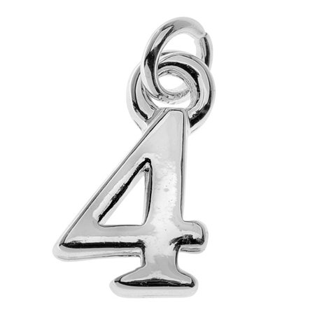 Silver Plated Charm, Small Number 4 11x6.8x1.5mm, 1 Piece, Silver - Number Charms