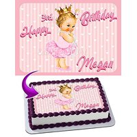 Baby Girl Princess Ruffle Pants Cake Image Personalized Edible Image Cake Topper Personalized Birthday 1/4 Sheet Decoration Party Birthday Sugar Frosting Transfer Fondant Image Edible Image for cake