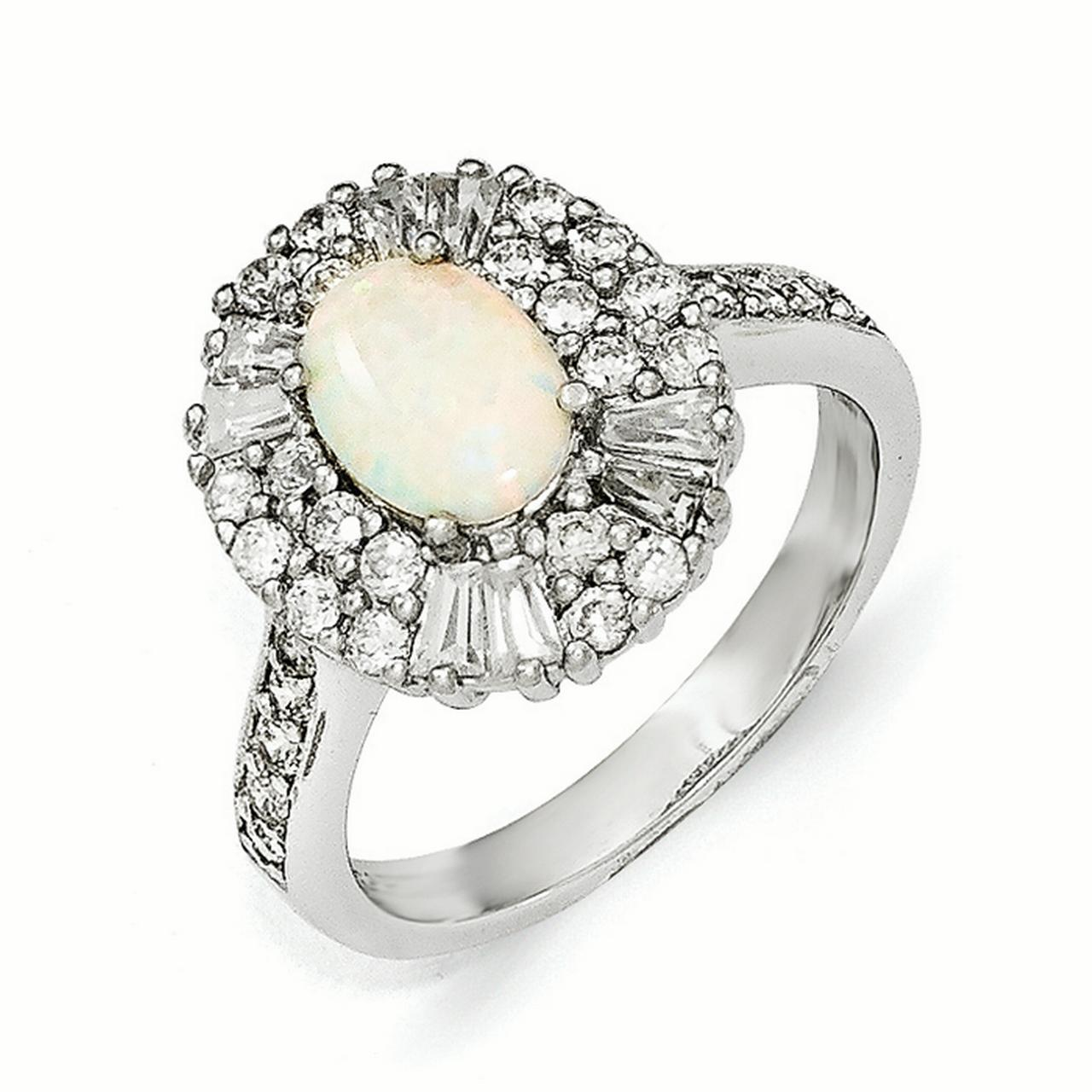 Cheryl M Sterling Silver Cubic Zirconia and Synthetic Opal Ring by Kevin Jewelers