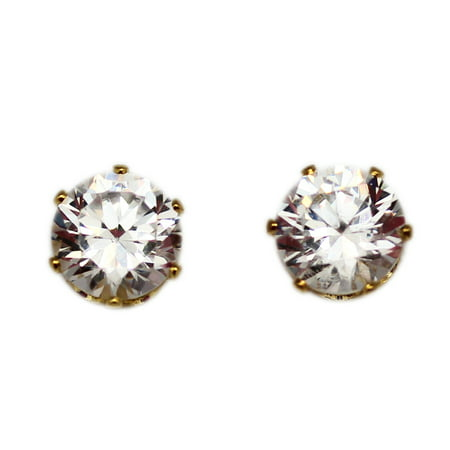 7mm Cut Rhinestone Diamond on Golden Stud Earrings