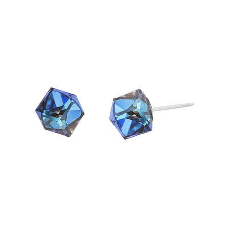 Lesa Michele Women's Faceted Crystal 6MM Cubed Stud Earrings in Stainless Steel Made With Swarovski Crystals (Color: Bermuda Blue) (Bermuda Blue Swarovski Crystal)