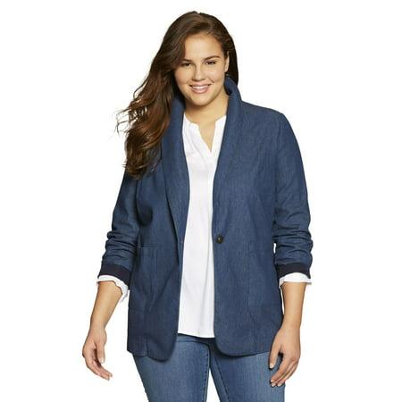 Woman Within Plus Size Shawl-collar Blazer