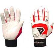 BTG475-XS(Red)_White Batting Gloves - Red (Large)