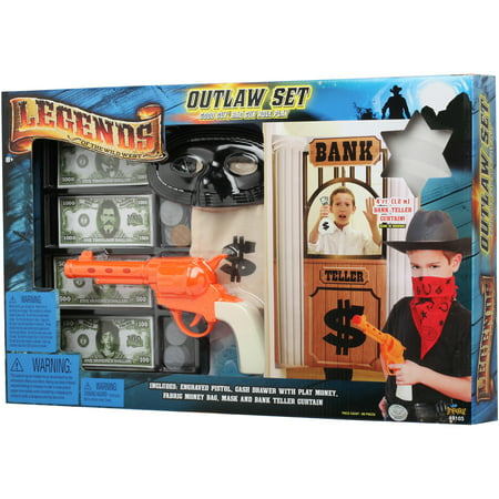 Legends Of Wild West Outlaw Role Play Set With Bank Teller Curtain   85 Pieces