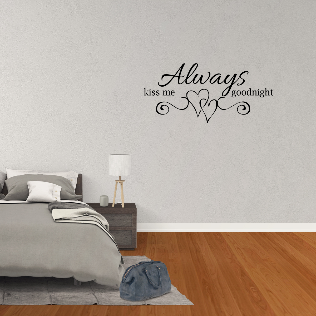 Always Kiss Me Goodnight Vinyl Wall Decal Quotes Home Decor JR07