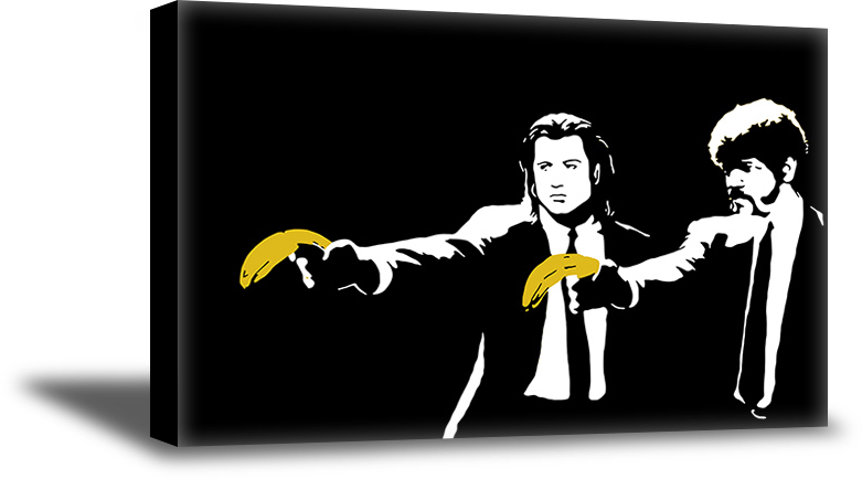 BANKSY PULP FINCTION BANANAS  WALL ART PRINT  ON  CANVAS PHOTOS PICTURES DECOR