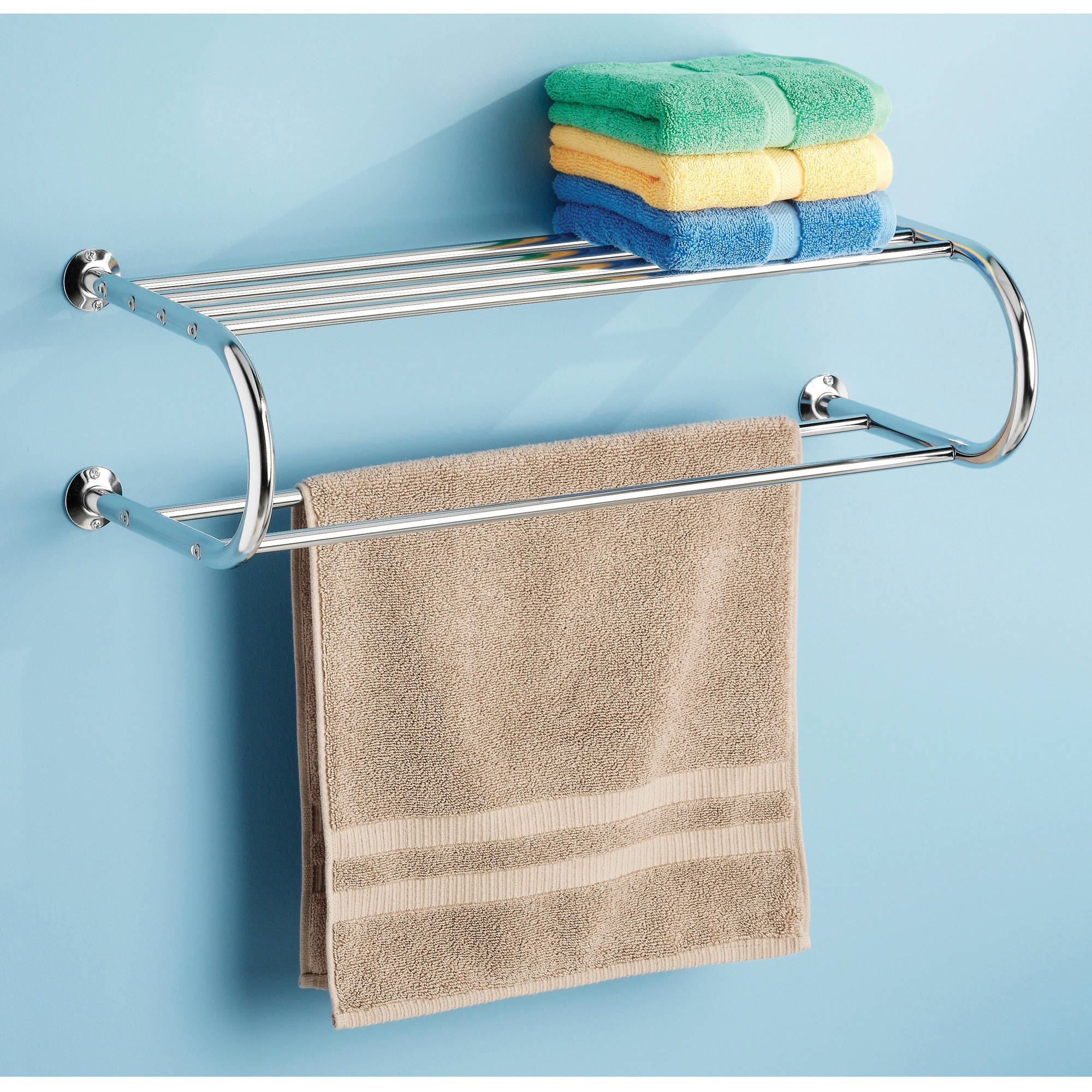 Whitmor Chrome Towel Rack with Shelf