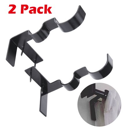 TSV 2 Pcs Double Center Support Curtain Rod Bracket Into Window Frame Curtain Rod Bracket Adjustable Curtain Rod Brackets Black