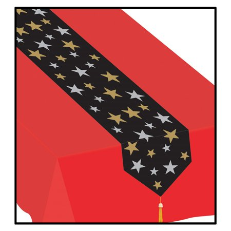 Club Pack of 12 Black and Gold Printed Star Patterned Disposable Banquet Party Table Runners 6' for $<!---->