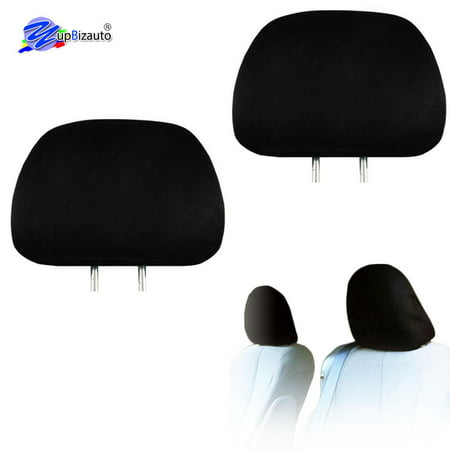 YupbizAuto 2x Cars Trucks & Cover Dvd tv Monitors Solid Black Polyester Universal Headrest Covers with Foam Backing- Set of -