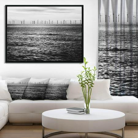 - DESIGN ART Designart 'Wind Turbines Black and White' Landscape Artwork Framed Canvas